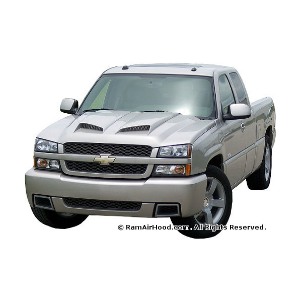 2003 2006 chevy silverado avalanche ram air hood 1500 2500 ram air hood custom fiberglass. Black Bedroom Furniture Sets. Home Design Ideas